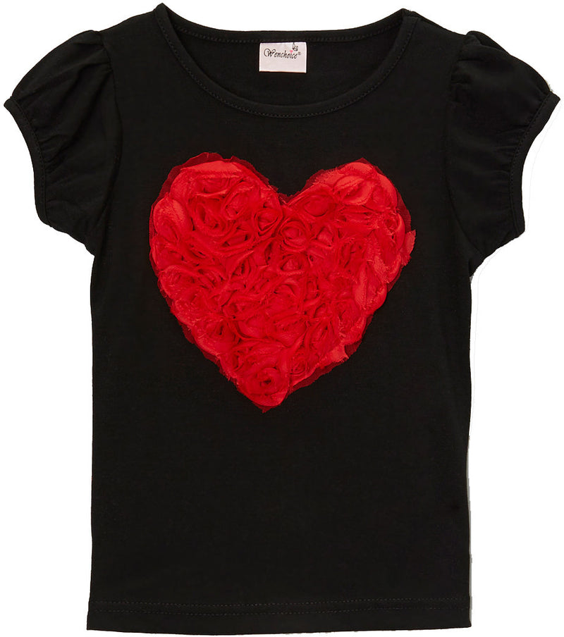 Black Short Sleeve Shirt With Red Rose Heart