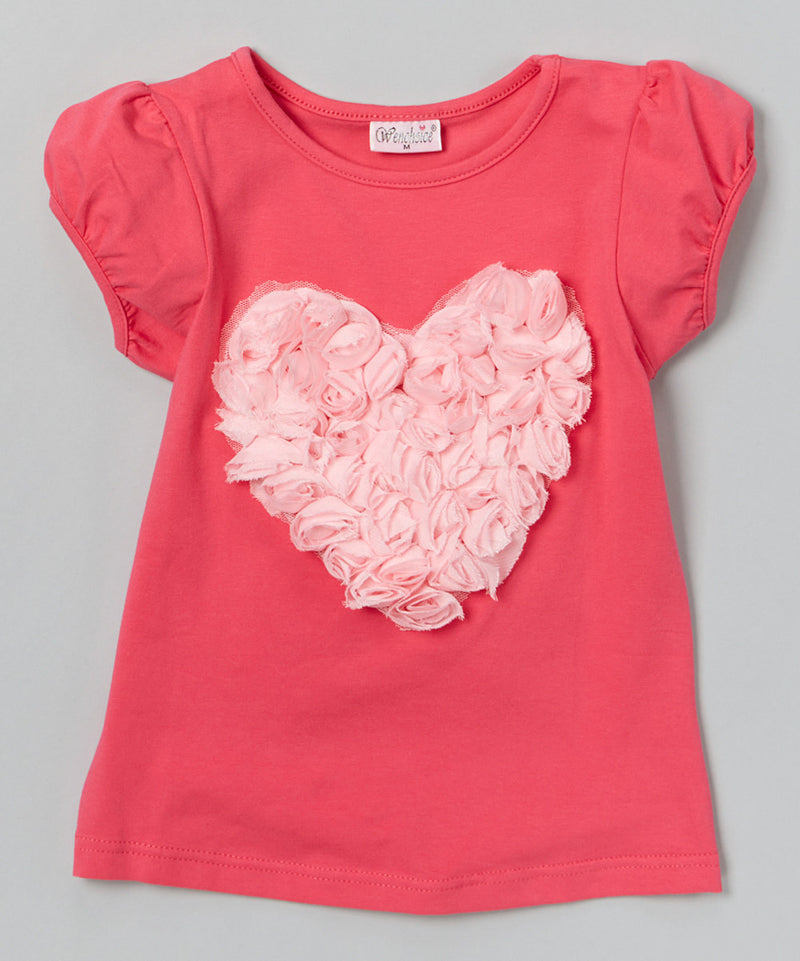 Hot Pink Short Sleeve Shirt With Pink Rose Heart