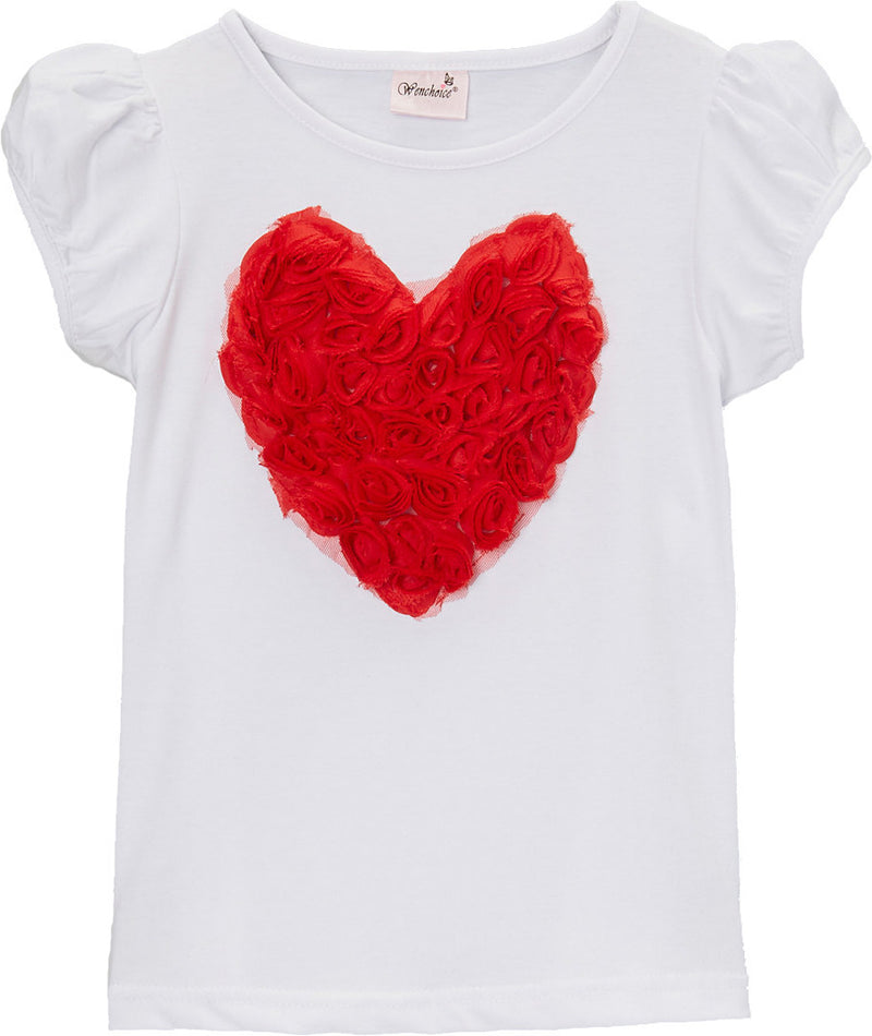 White Short Sleeve Shirt With Red Rose Heart