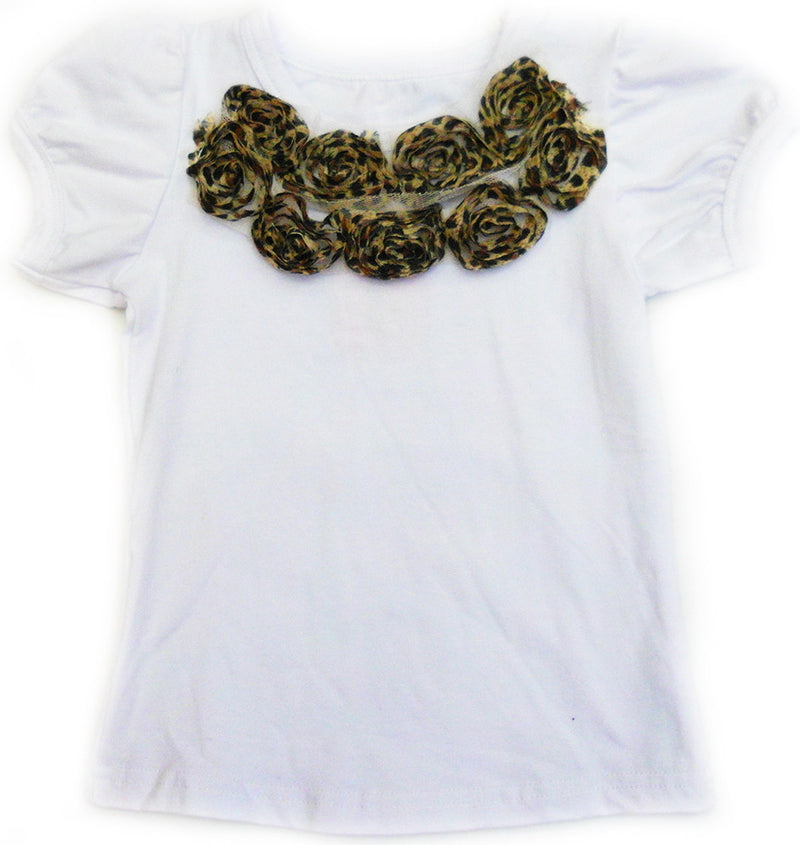 White Leopard Flower Short Sleeve Shirt