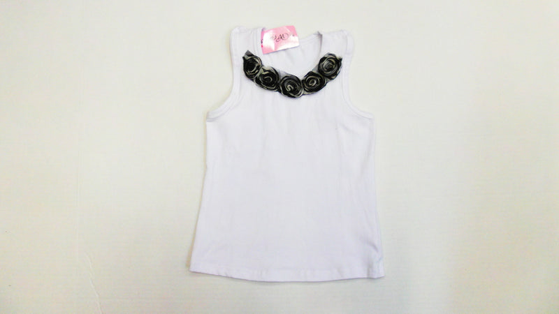 White Zebra Flower Tank Top