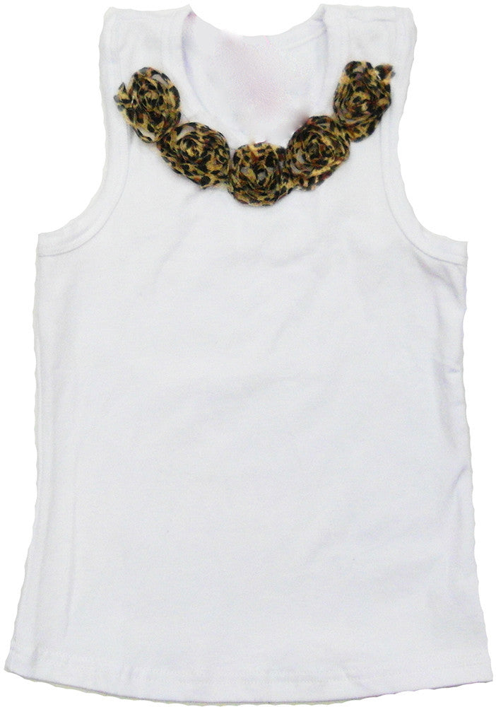 White Leopard Flower Tank Top