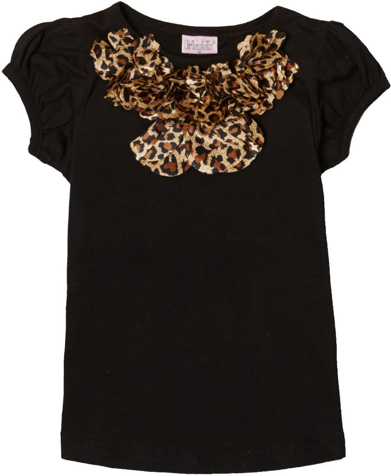 Black Short Sleeve Shirt With Leopard Eagle