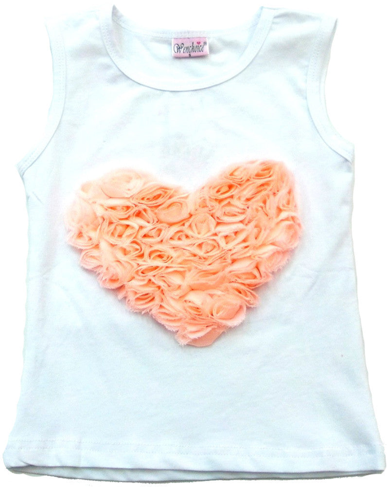 White Coral Rose Heart Tank Top