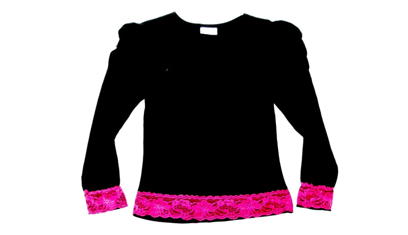 Black/ Hot Pink Lace  Long Sleeve Shirt