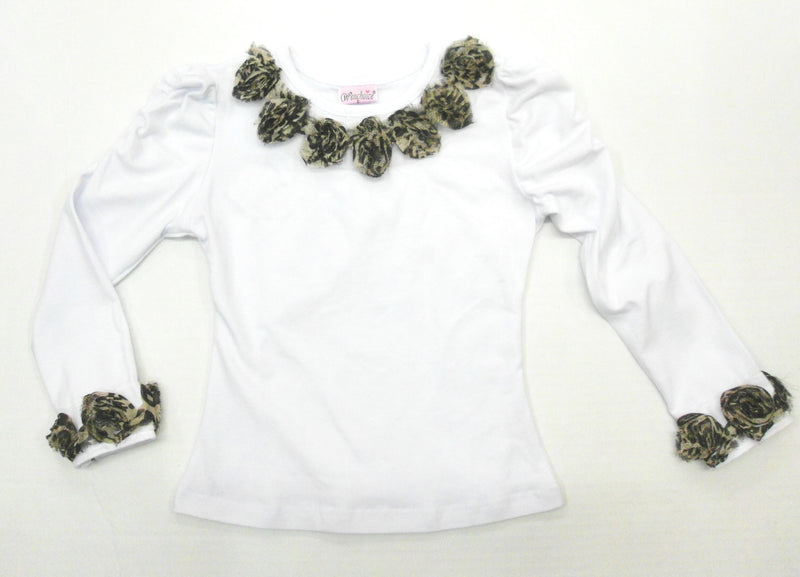 White Leopard Flower Long Sleeve Shirt