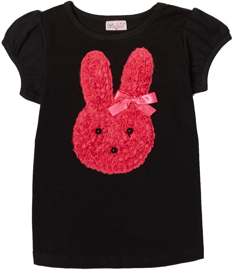 Black Short Sleeve Shirt With Hot Pink Bunny