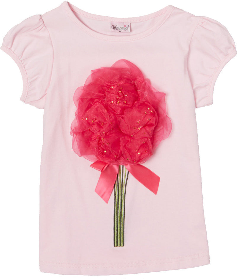 Pink Short Sleeve Shirt With Hot Pink Organdy Flower