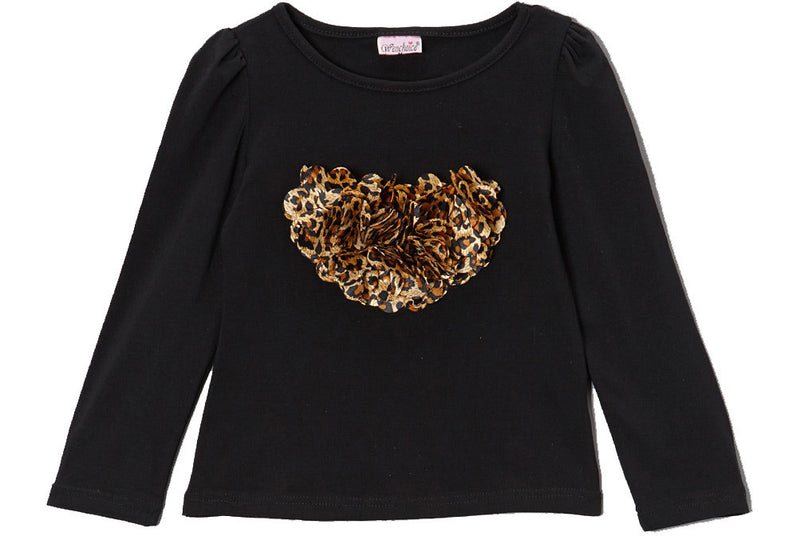 Black Long Sleeve Shirt With Cheetah Heart