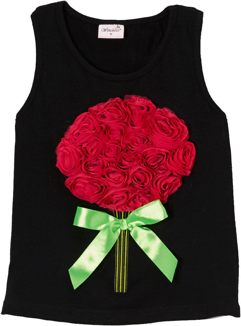 Black Rose Bouquet Tank Top