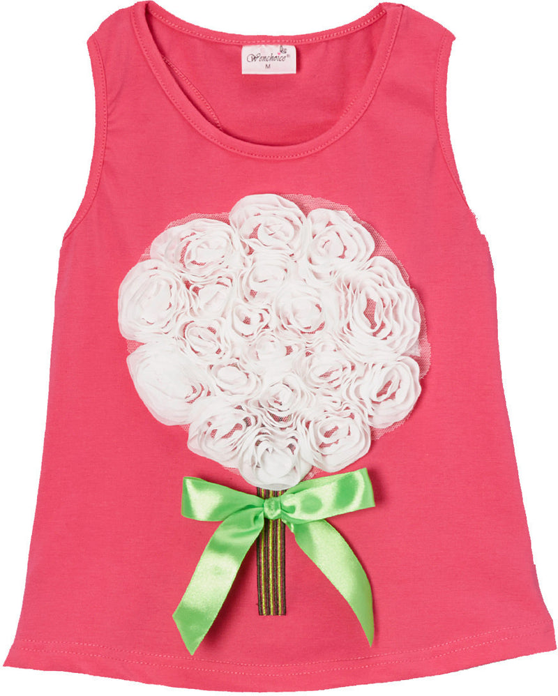 Hot Pink White-Rose Bouquet Tank Top
