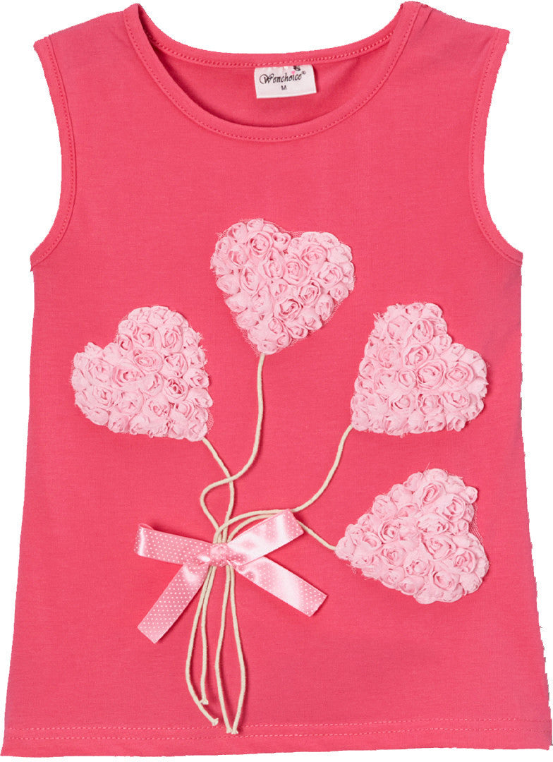 Hot Pink Heart Balloon Tank Top