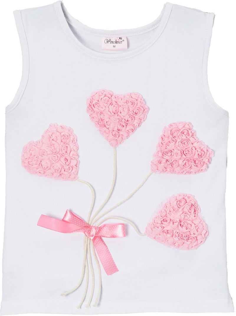 White Pink-Heart Balloon Tank Top
