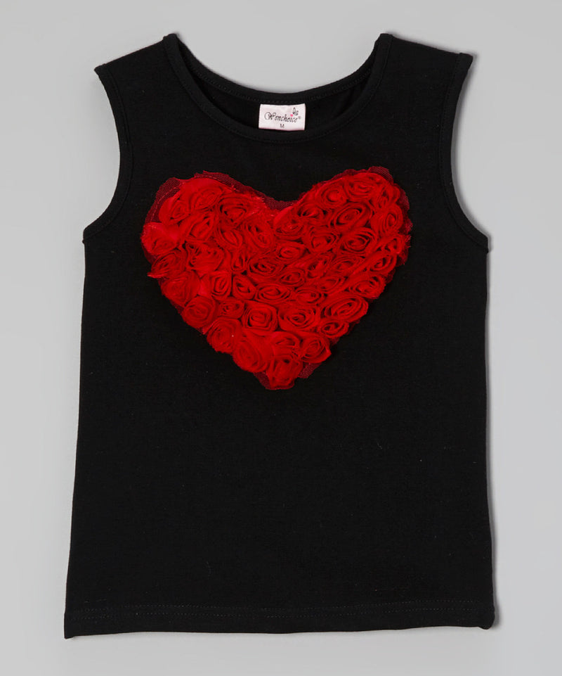 Black Red-Heart Tank Top