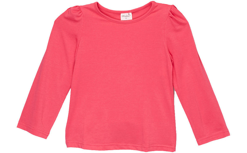Hot Pink Plain  Long Sleeve Shirt
