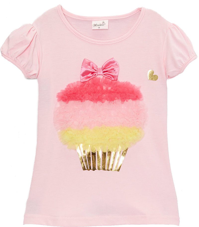 Pink Short Sleeve Shirt With Colors Ruffle Cupcake