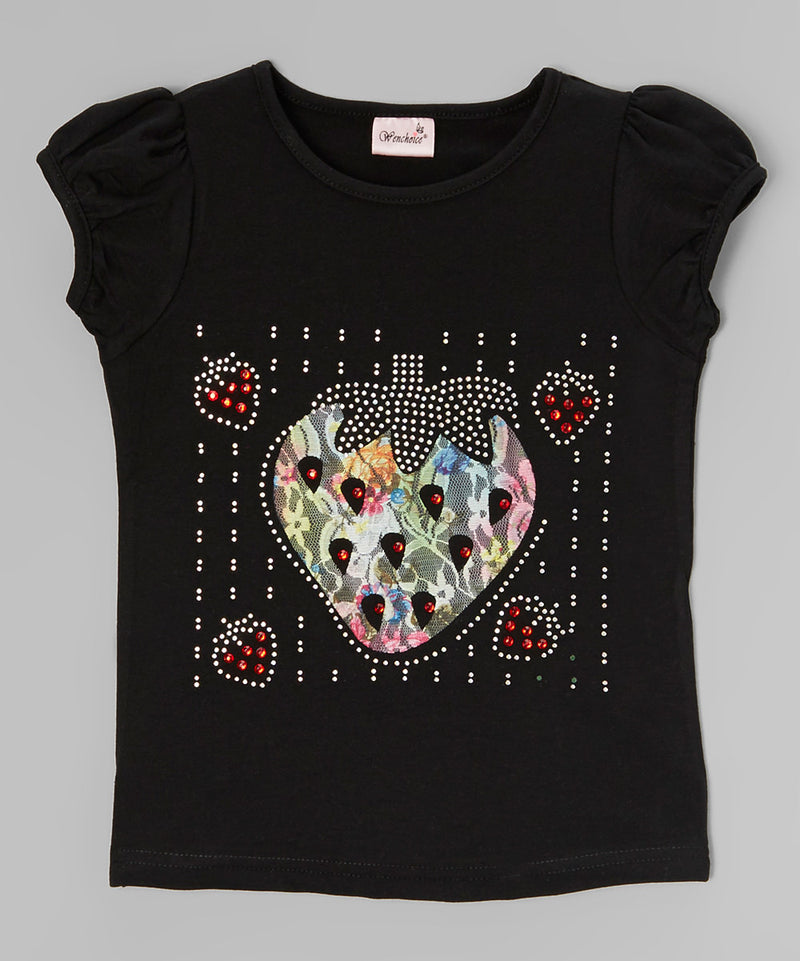 Lace Strawberry Rhinestone Black Short Sleeve Shirt