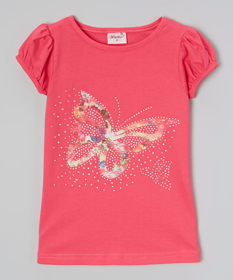 Lace Butterfly Rhinestone Hot Pink Short Sleeve Shirt