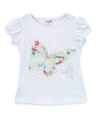 Lace Butterfly Rhinestone White Short Sleeve Shirt