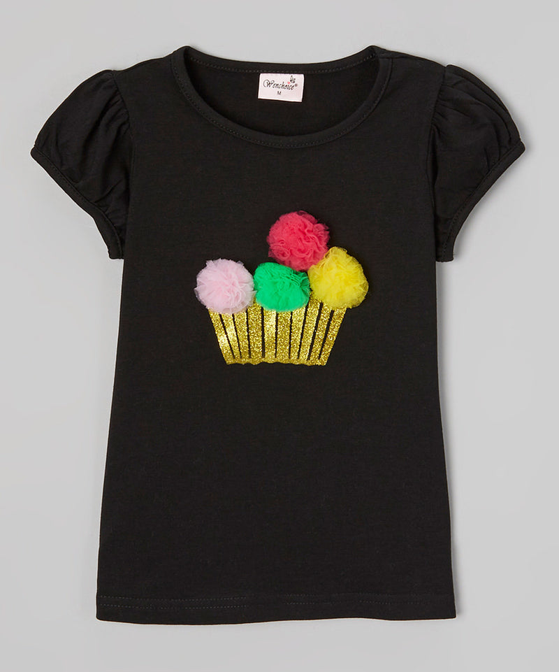 3-D Pompom Cupcake Black Short Sleeve Shirt