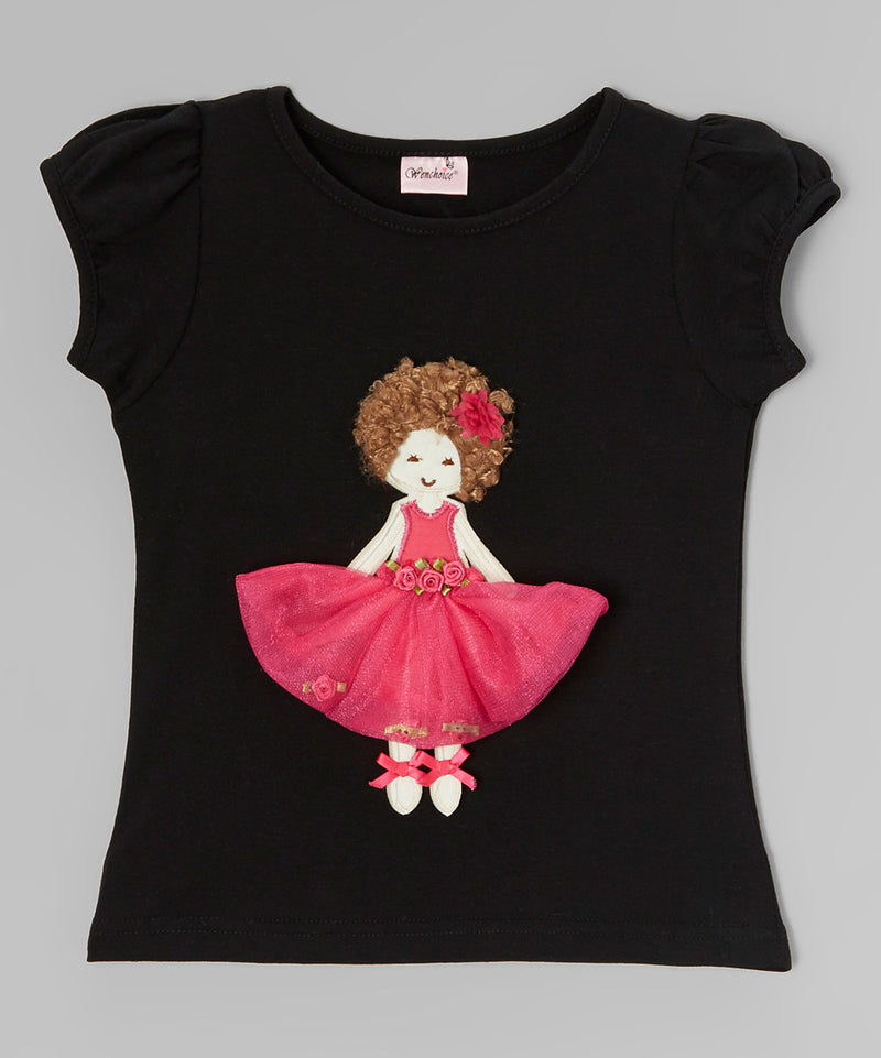 3-D Curly Girl Black Short Sleeve Shirt