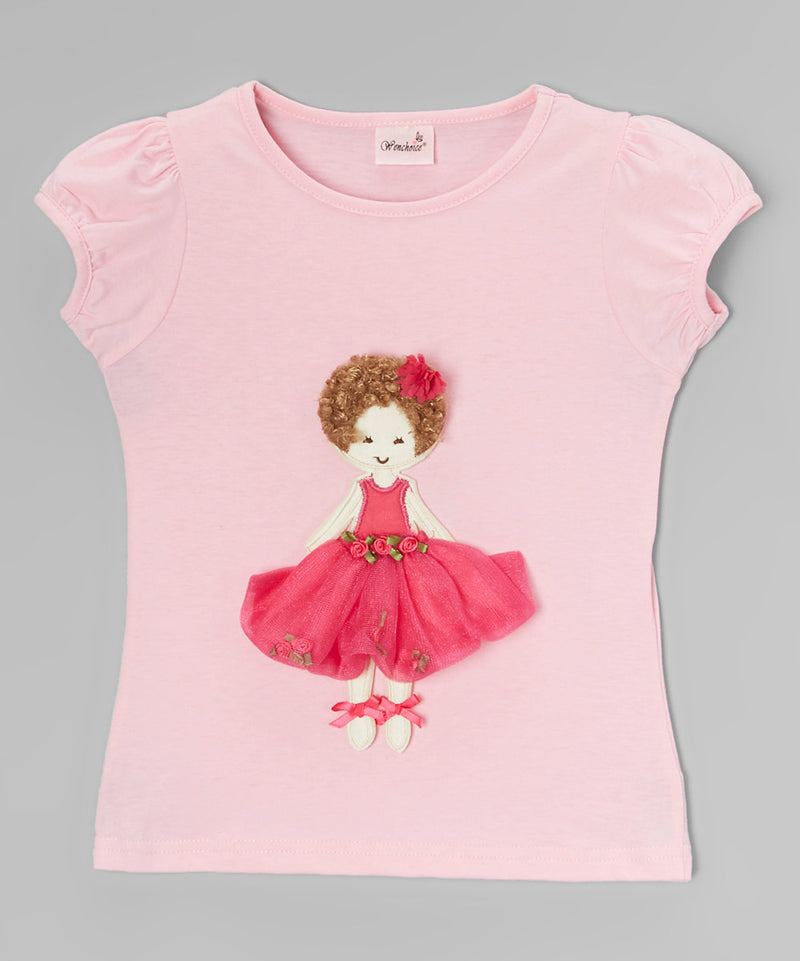 3-D Curly Girl Pink Short Sleeve Shirt