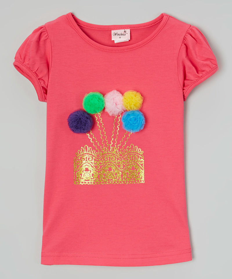 Hot Pink Pompom Garden Short Sleeve Shirt