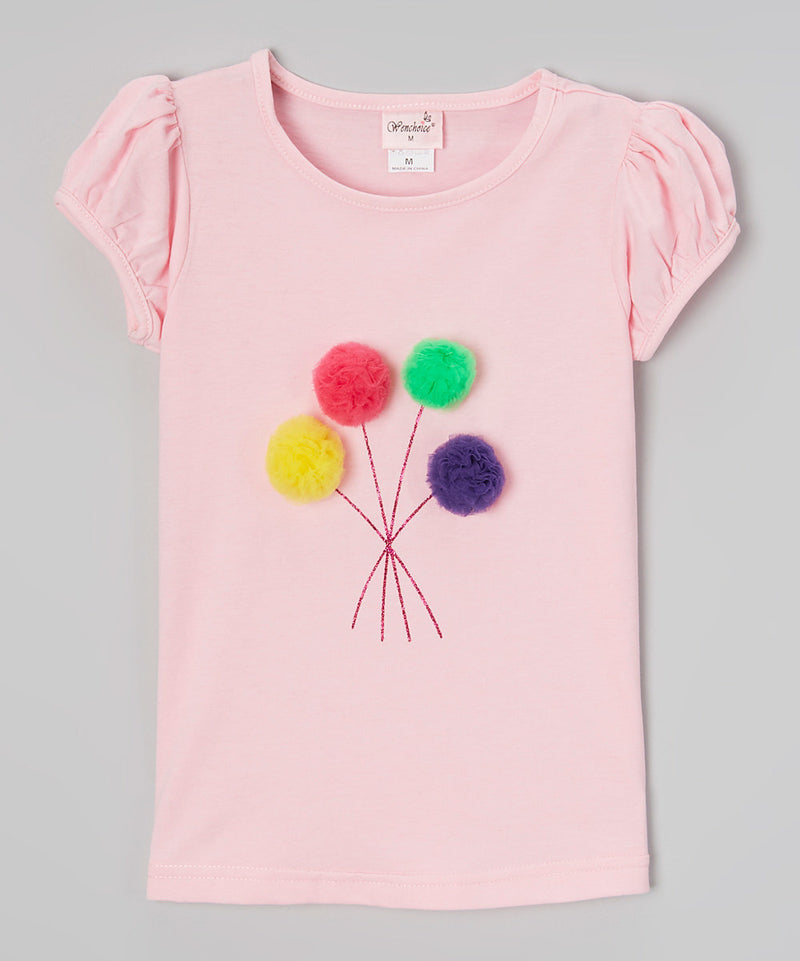 Pink Pompom Short Sleeve Shirt