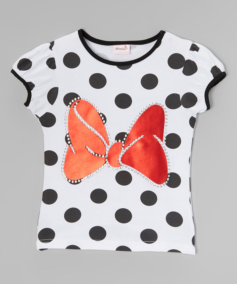 Black/White Polka Dot Red Minnie Bow Short Sleeve Shirt