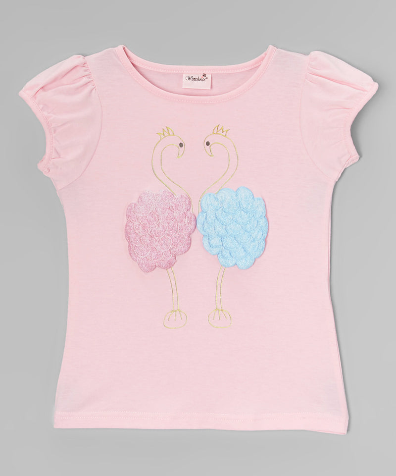 Pink Couple Flamingo Short Sleeve Shirt