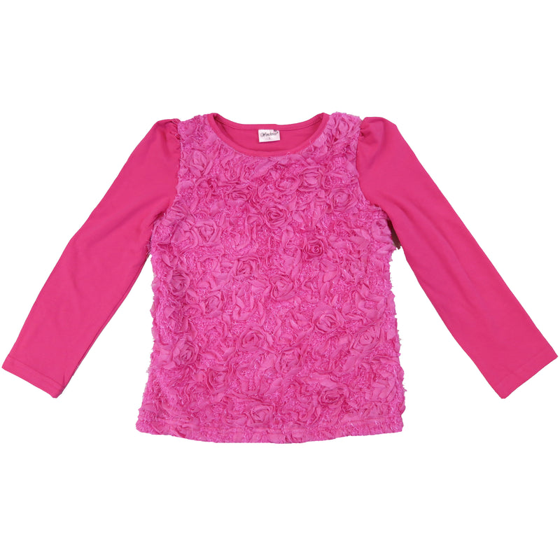 Hot Pink Ruffle Roses Long Sleeve Shirt
