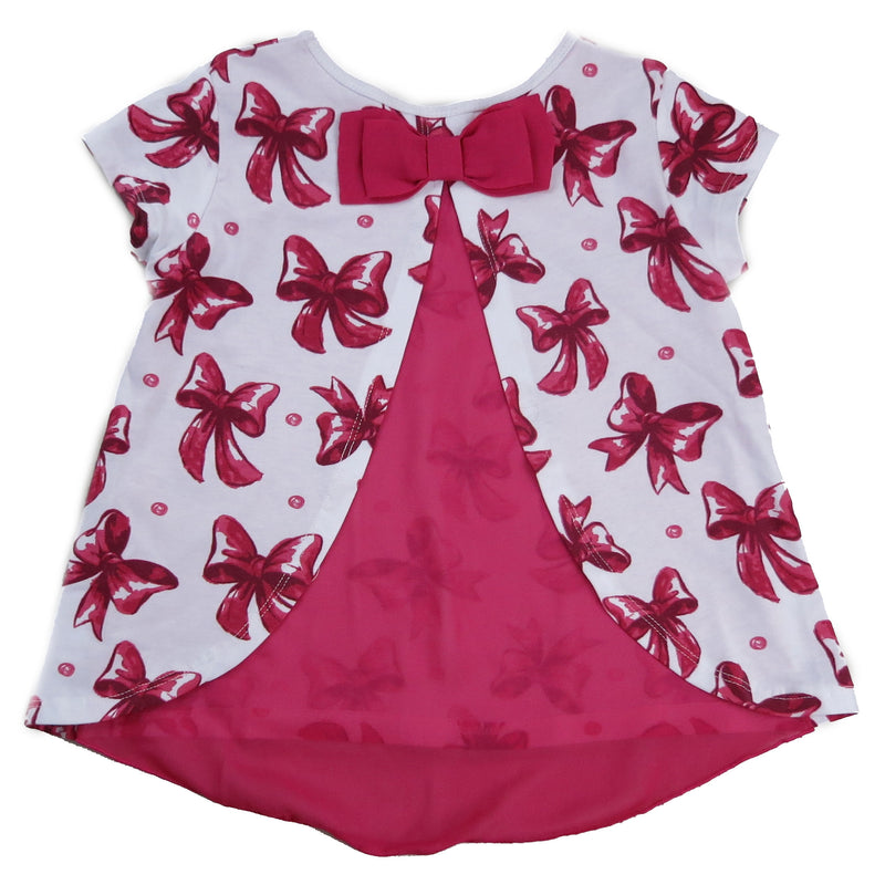 White & Hot Pink Bow Printed Swing Shirt