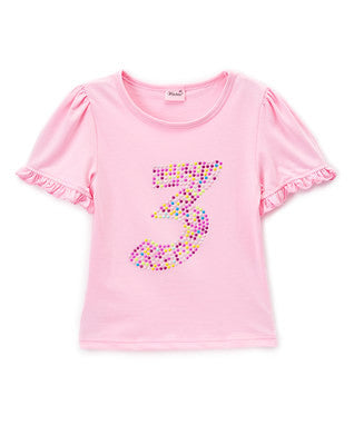 Pink No.3 Girl Short Sleeve Shirt