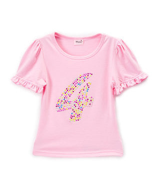 Pink No.4 Girl Short Sleeve Shirt