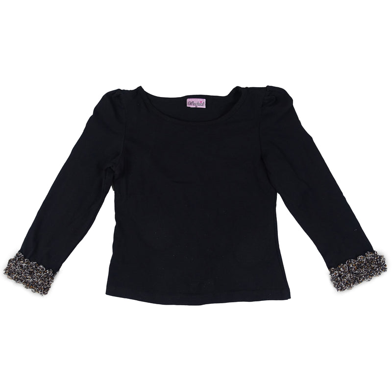 Black Leopard Rose Trim Long Sleeve Shirt