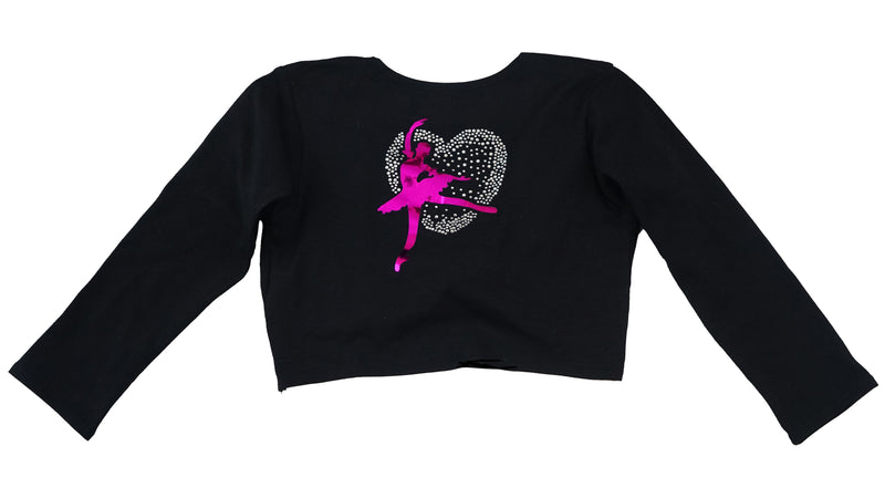 Black Ballet Girl Heart Wrap Top