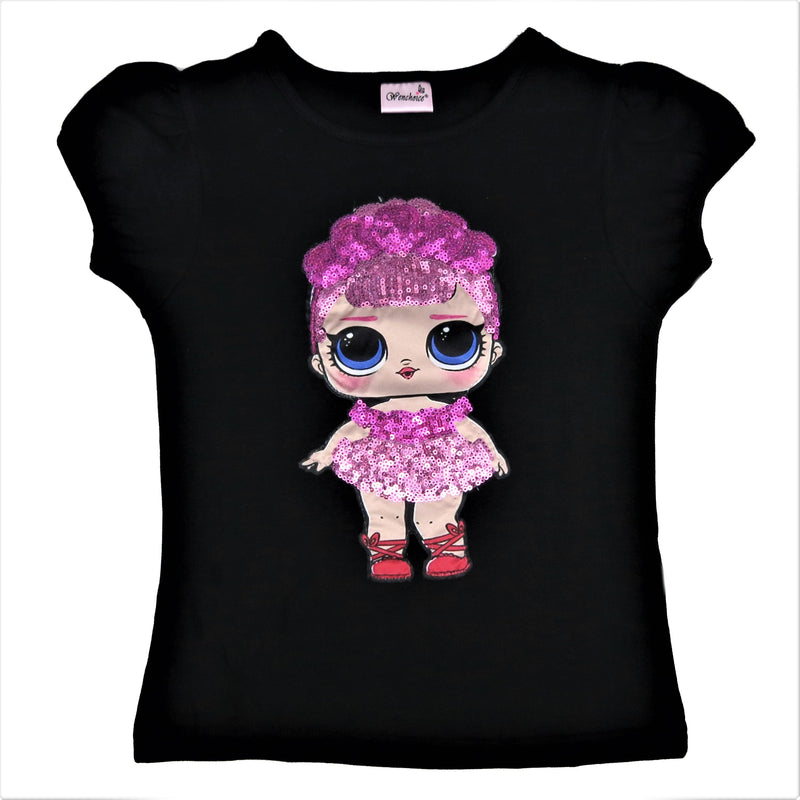 Black LOL Sequins Short Sleeve Shirt