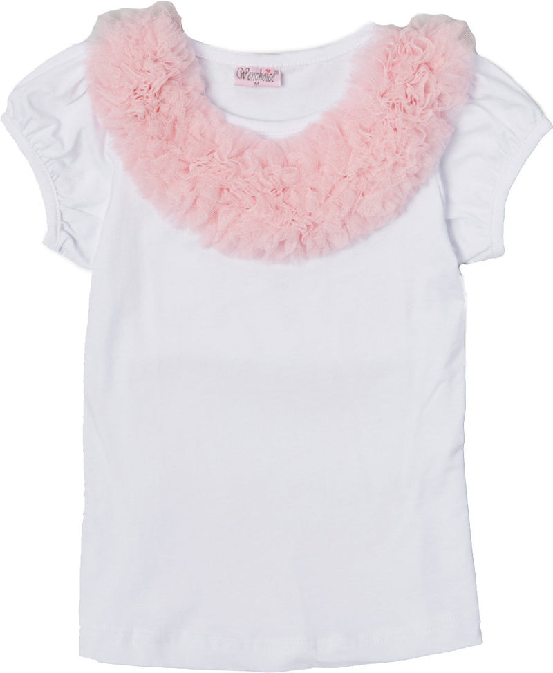 White Short Sleeve Shirt With Pink Ruffle