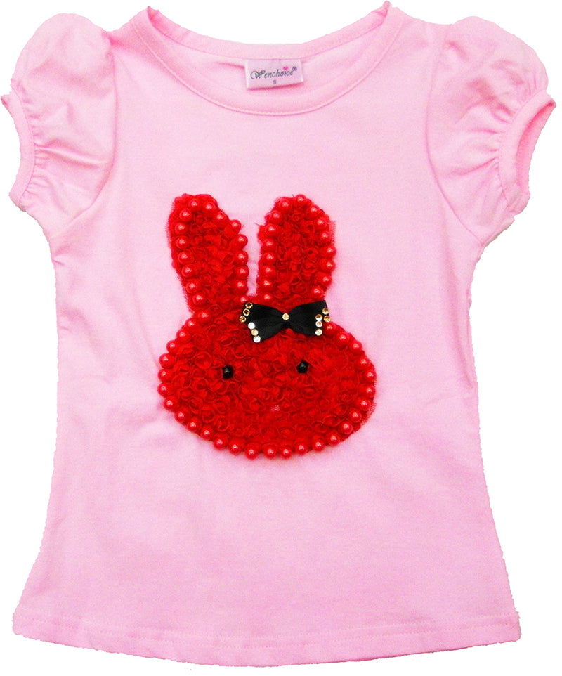 Pink Short Sleeve Shirt With Red Bunny