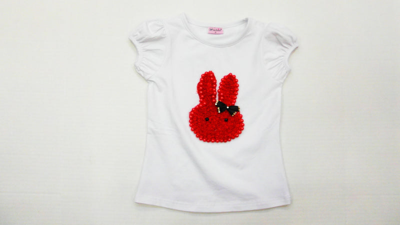 White Short Sleeve Shirt With Red Bunny