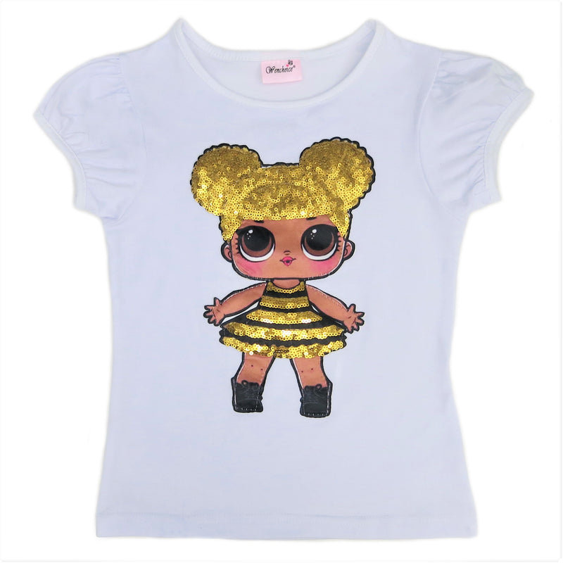 White LOL Queen Bee Sequins Short Sleeve Shirt