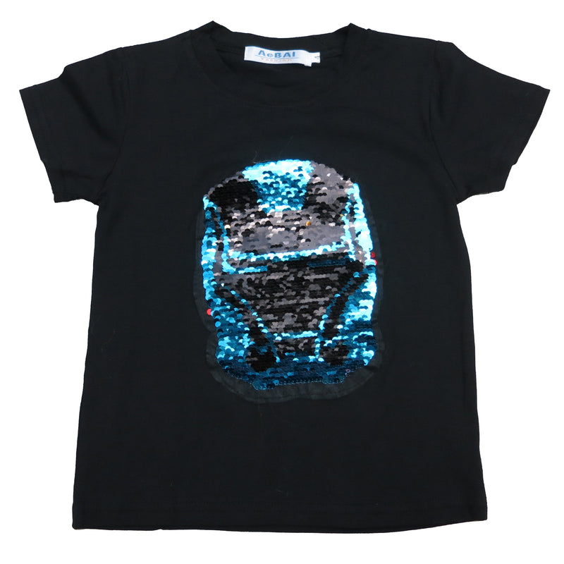 Black Flip Sequins Iron Man T-Shirt
