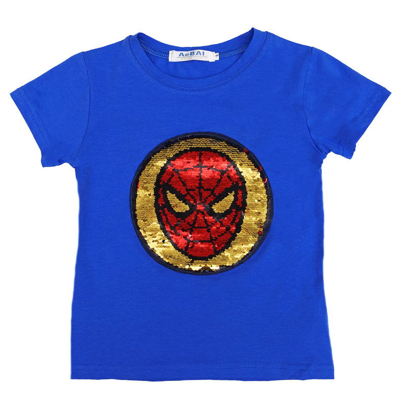 Blue Flip Sequins Spiderman T-Shirt