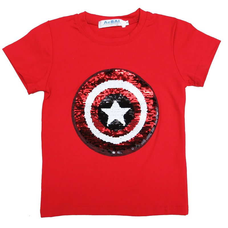Red Flip Sequins Spiderman/Captain America T-Shirt