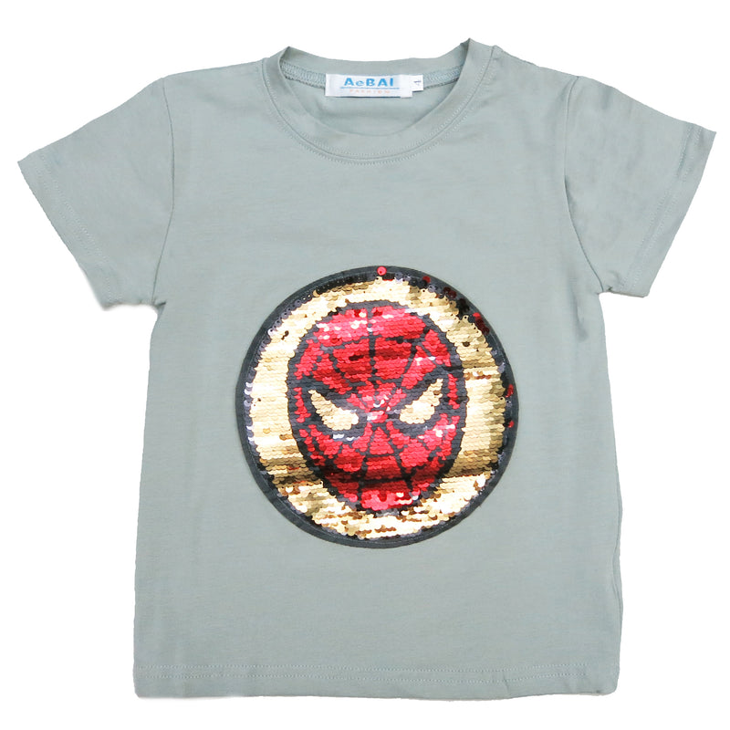 Gray Flip Sequins Spiderman T-Shirt