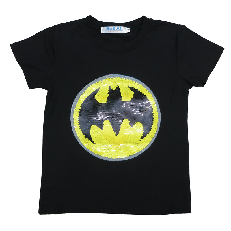 Black Flip Sequins Batman/Superman T-Shirt