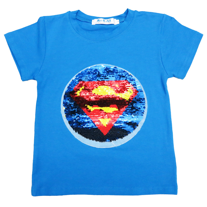 Blue Flip Sequins Batman/Superman T-Shirt