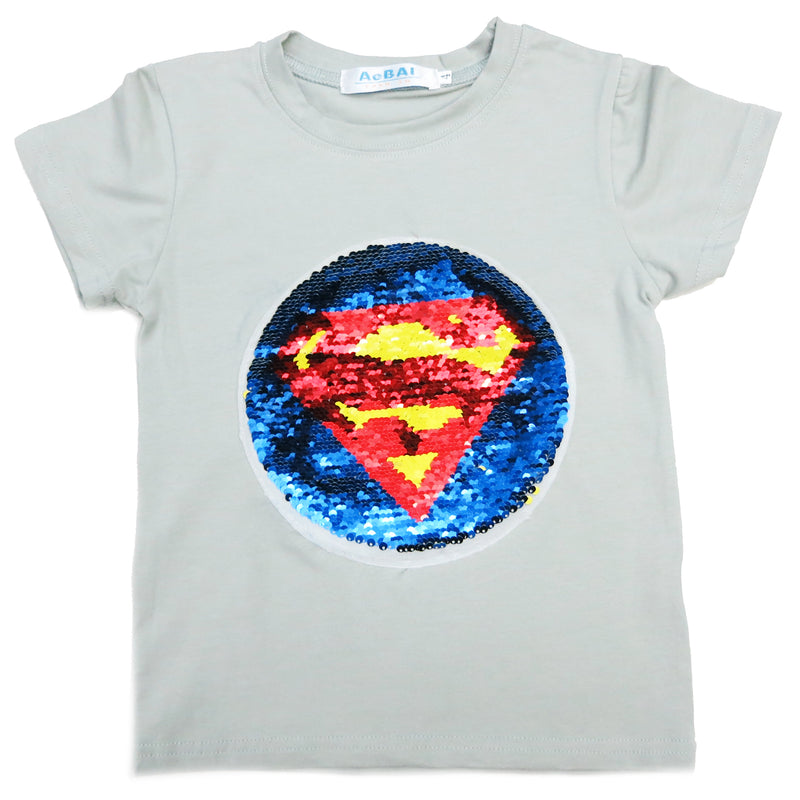 Gray Flip Sequins Batman/Superman T-Shirt