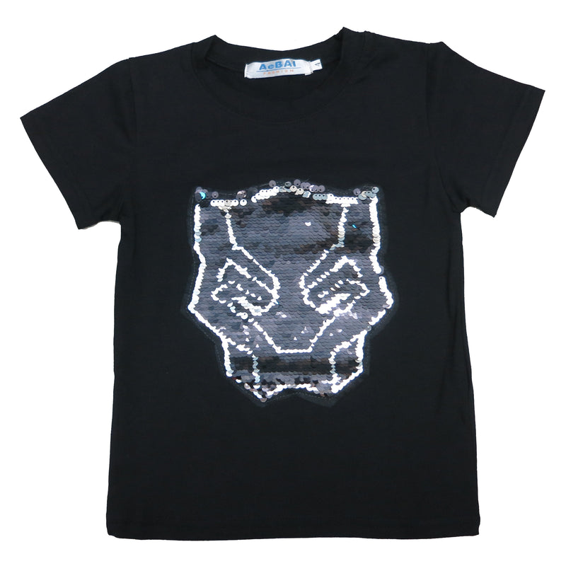 Black Flip Sequins Black Panther T-Shirt