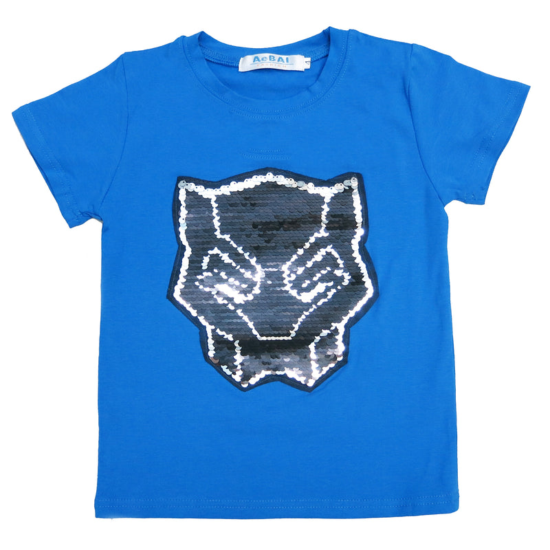 Blue Flip Sequins Black Panther T-Shirt